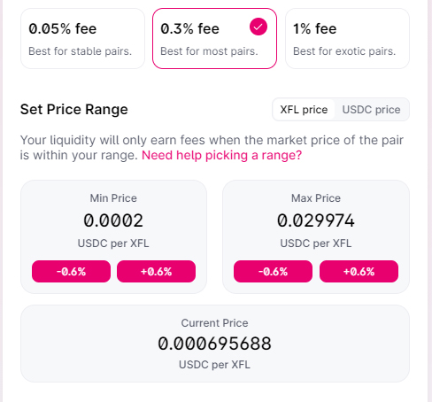 Select a price range in which to provide liquidity. Your liquidity will only earn fees when the market price of the pair is within your range